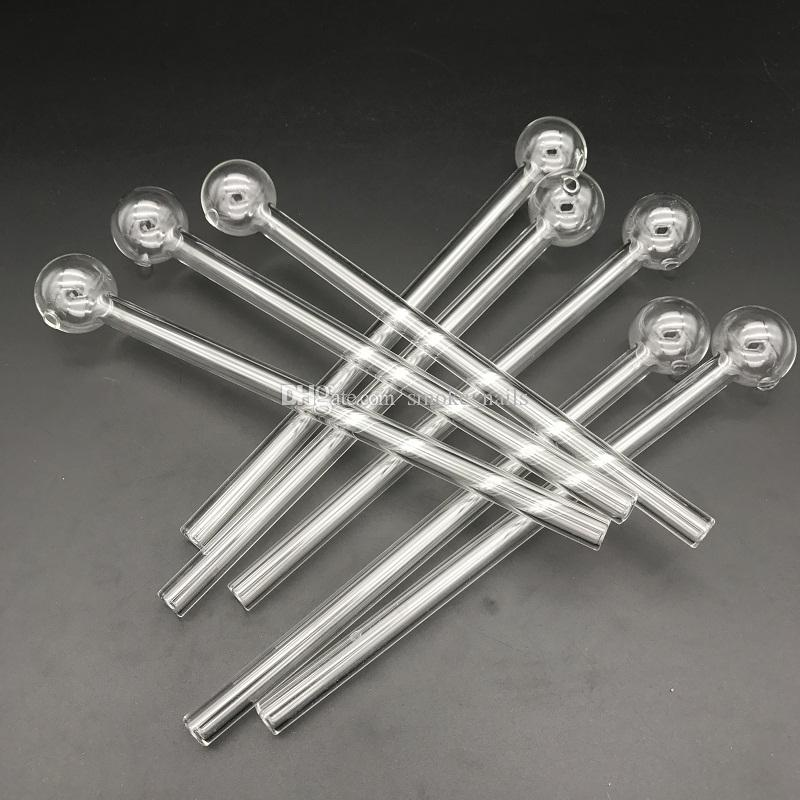 Length 8 inches large ball glass oil burner Glass Tube Oil Pipe Nail Glass Oil Pipe Thick Clear pipe for dab rig bong