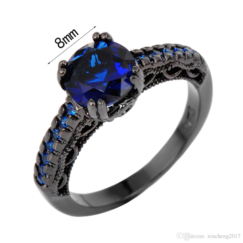 junxin round male female blue ring vintage black gold wedding rings for men and women fashion jewelry friend gifts black gold filled blue women ring online - Female Wedding Rings