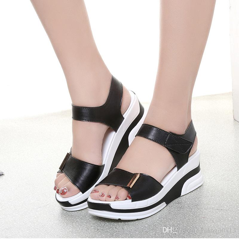 2017 summer fish mouth women's sandals slope wedge bottom high heel platform wild muffler women shoes