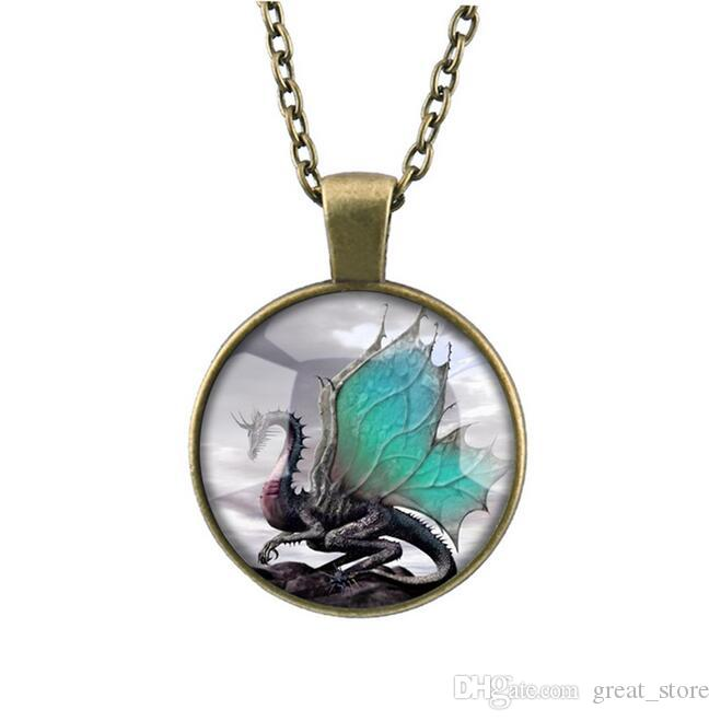 Dragon Totem Time Gemstone Necklace New Swing Sweater Chain WFN370 with chain a