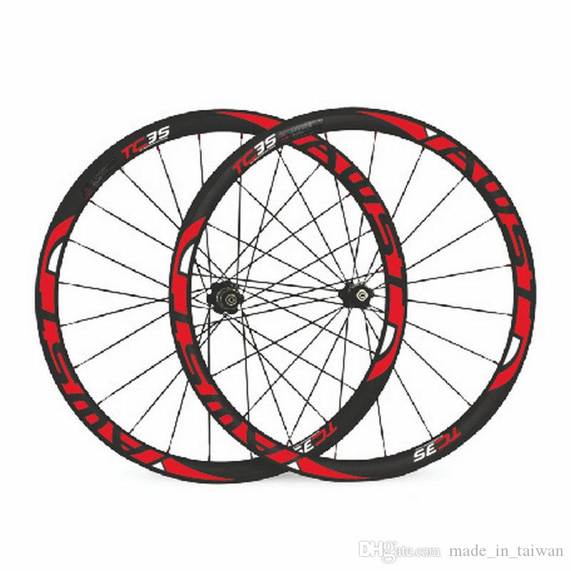 AWST TC 35 red decal 38mm full carbon bike wheels tubular taiwan road bike wheels with ceramic bearing hubs bicycle wheels