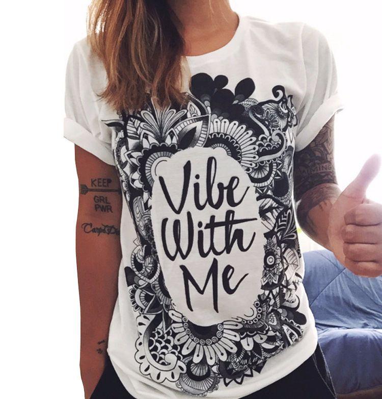 Las mujeres de la manera camisetas de manga corta de verano suaves letras impresas las camisetas Mujer pintada retro de la flor de la vendimia Tops Tee Shirts Señora T ZL3229