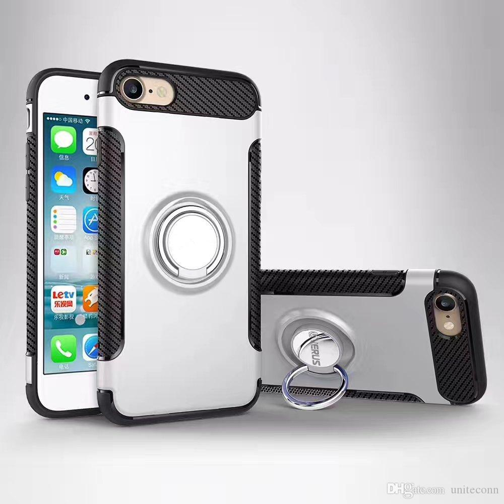 Hybrid TPU+PC 2-in-1 Armor Case Shock-Proof Cases 360 Ring Stand Holder Magnetic Back Cover For Samsung J3 j5 j7 2017