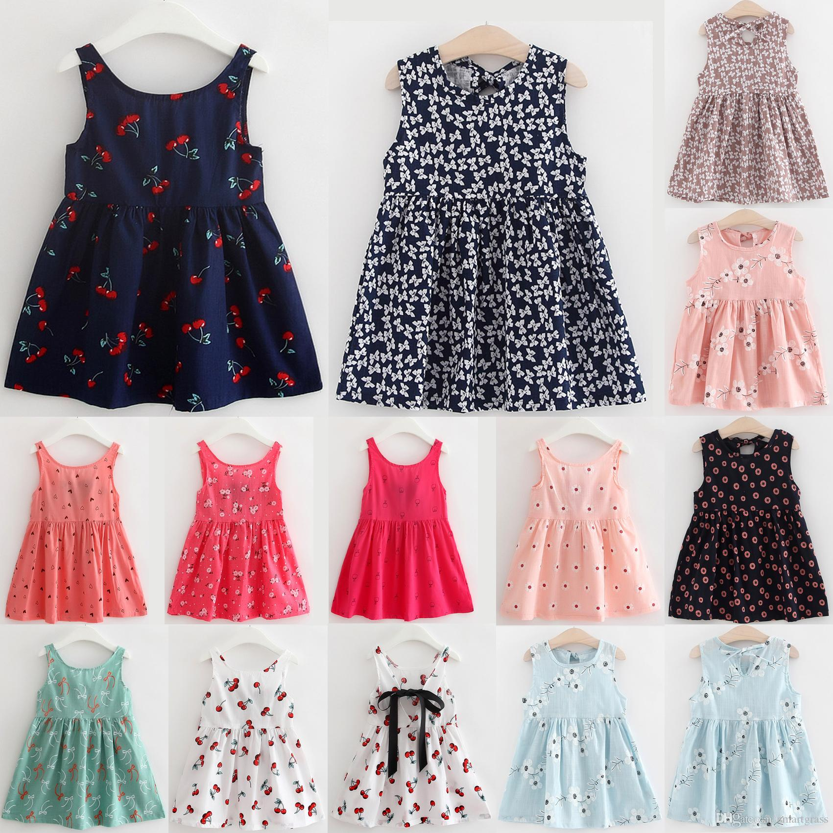 13 Patterns Girls Dresses Floral Baby Clothes Cotton Linen Flower