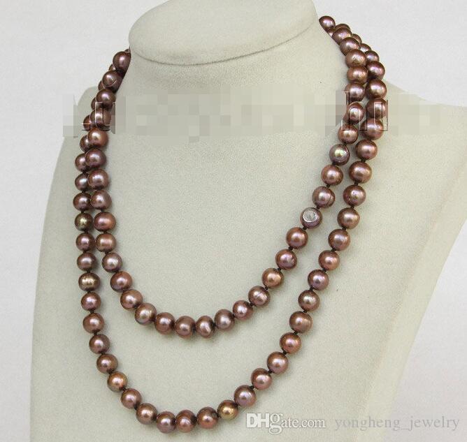 c9cd4c532d6a Compre 33 9 Mm Marrón Cerca De Collar De Perlas De Agua Dulce J10182 A   19.06 Del Yongheng jewelry