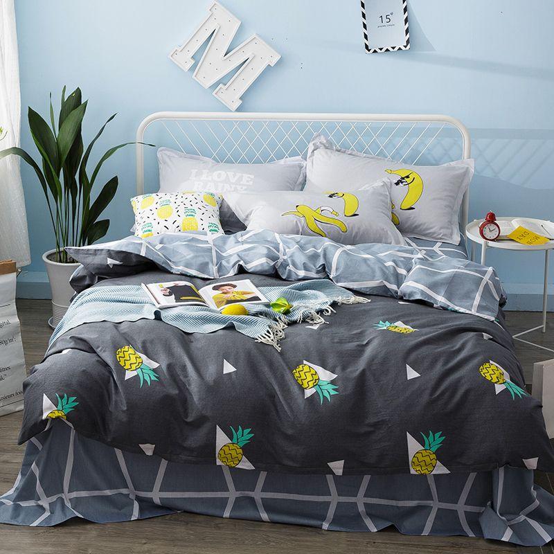 Boys Kids Girls Bed Linen Set Pineapple Fruit Cute Bedding Set Twin