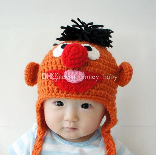 5fe8b53f0ab 2019 Baby Boy Girl Animal Hat Ernie Muppet Hat Crochet Pattern Winter  Monster Hat Newborn Infant Toddler Children Beanie Cotton Kids Photo Props  From ...