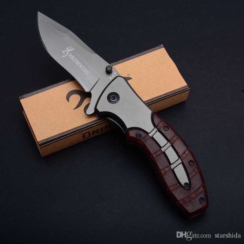 Manejar Browning X47 titanio plegable táctico del cuchillo de caza que acampa al aire libre aleta bolsillo de la supervivencia del cuchillo de madera militar Utilidad EDC Herramientas