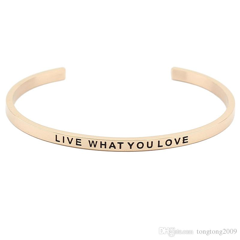 Hot Sale Stainless Steel Open Cuff Bracelet Rose Gold Hand Stamped Mantra Bangle Engraved Words Women Bangles Jewelry