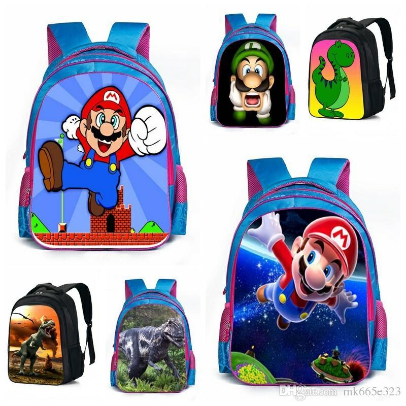 Super Mario Bros Dinosaur School Bags Animal Schoolbag Kids Boys ...