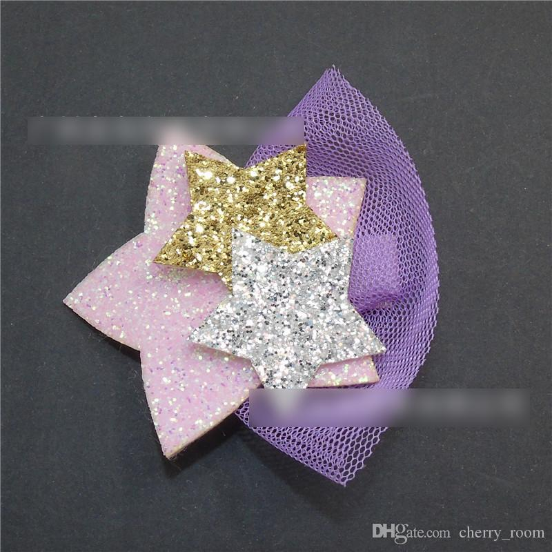 Silver Gold Glitter unicon star Hair Clip Pink purple Felt Bow Barrette with Pom Pom Cute Toddler Animal Ear Hairpin A7515