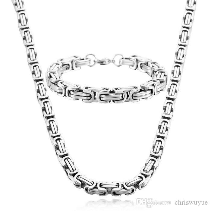 8 мм ширина высокого качества из нержавеющей стали мужчины браслет ожерелье серебряный цвет византийская коробка ювелирных изделий цепи NB889
