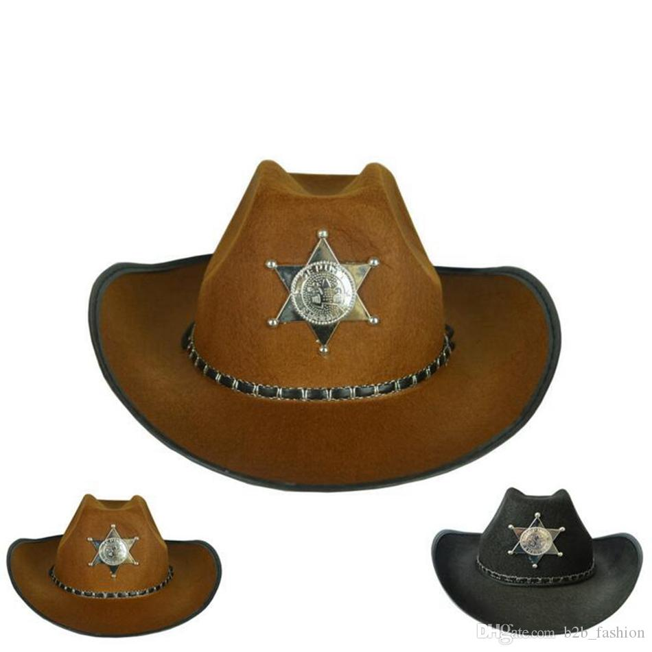 Five-Pointed Star Cowboy Hat Retro American Western Antique Knight Cap  Bowler Fedora Cap Halloween Cosplay Hats OOA2743