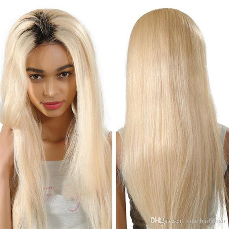 Fashion Two Tone Human Hair Wigs Straight 1bT60 Platinum Blonde Ombre Lace  Front Wig Black Roots Remy Hair Wigs Human Hair Full Lace Wigs With Baby  Hair ... 4cbf11d0156b