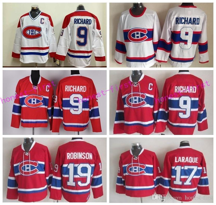 b07dc8c2d56 ... discount 2017 throwback montreal canadiens 9 maurice richard jersey men  vintage classic 19 larry robinson 17 ...