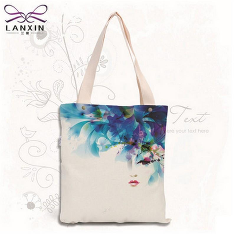 Wholesale- Sketch Floral Printed Canvas Tote Female Single Shopping ... 3d91b315fdc0a