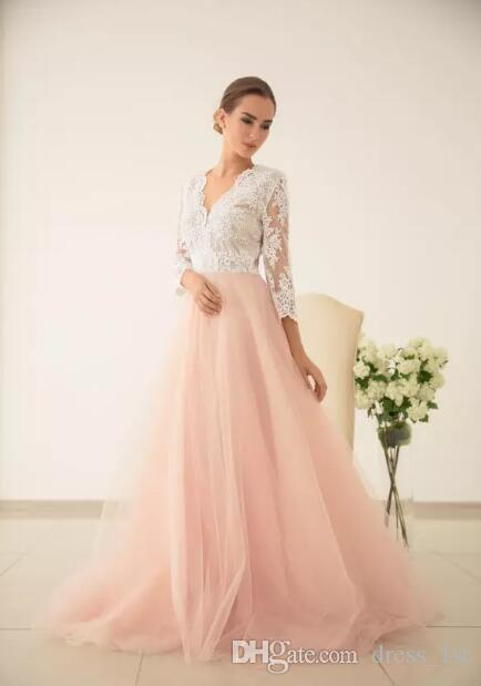 Fairy 2017 Ivory Lace Peach Tulle Country Wedding Dresses Cheap V Neck Illusion 3/4 Long Sleeves Bridal Gowns Custom Made China EN8057