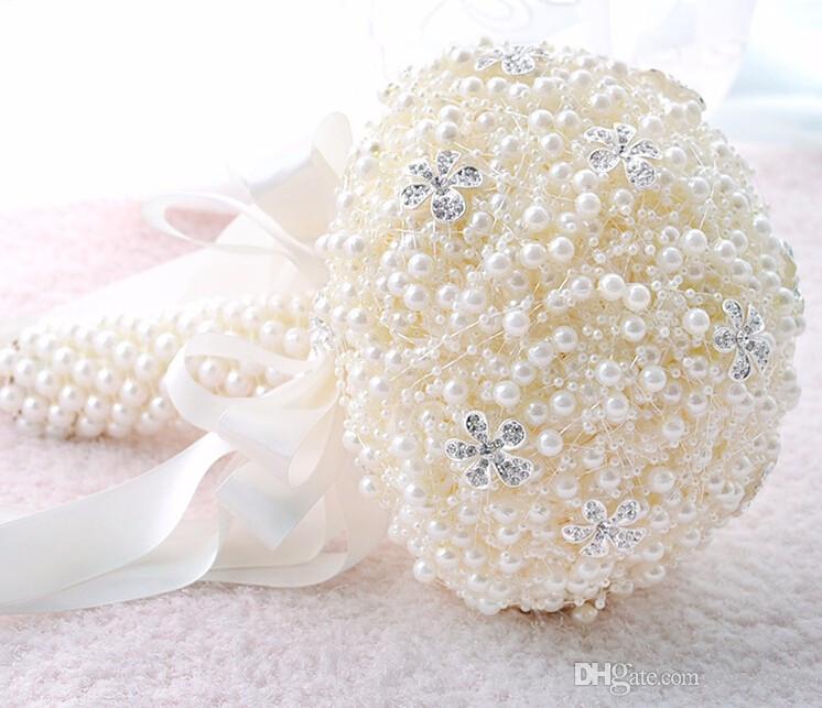 6 가지 색상 아름다운 웨딩 꽃 신부 부케 웨딩 부케 진주 핑크 부케 Fleur Mariage 빨간 장미 꽃다발