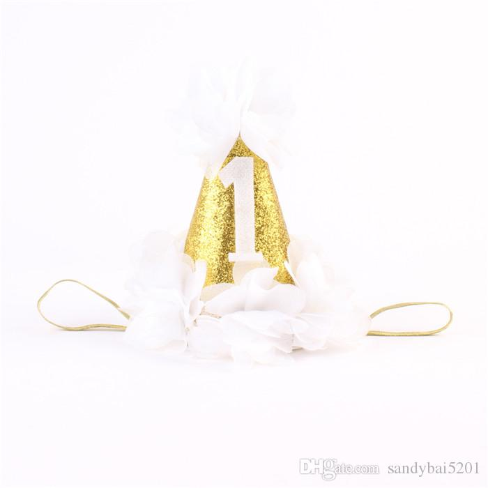 Bébé Filles Couronne Bandeaux Enfants Fille 3D Mousseline de Soie Fleur Bandeau 2017 Infantile Princesse Paillettes Bandeau Enfants Cheveux Accessoires 5 Couleurs B11