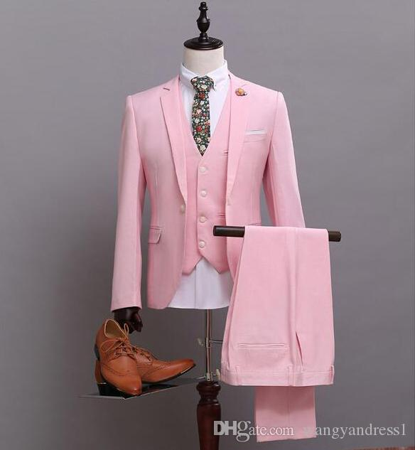 New Design Made Pink Wedding Suits Groom Tuxedos Suit Formal Suits ...