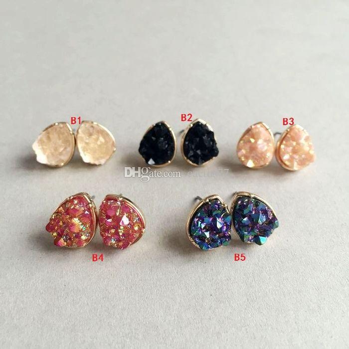 4 стили водослива круглый квадратный смолы Drusy Druzy серьги стержня мода кварц камень серьги золотой цвет милый бренд ювелирных изделий для женщин