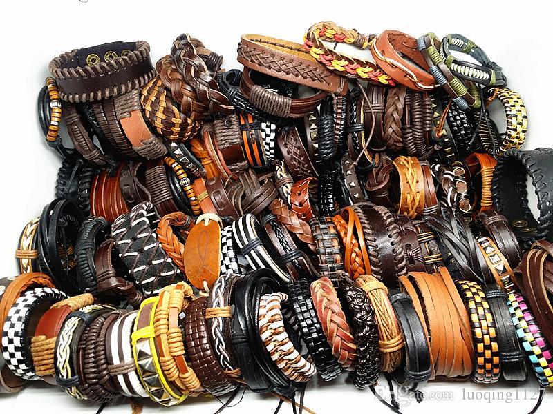 оптовые оптовые партии 100 шт. / лот mix стили мужские ручной работы из натуральной кожи манжеты этнических племен модные браслеты новый