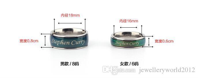 Calcio stelle dello sport umore anello anello in acciaio titanio thermochromic