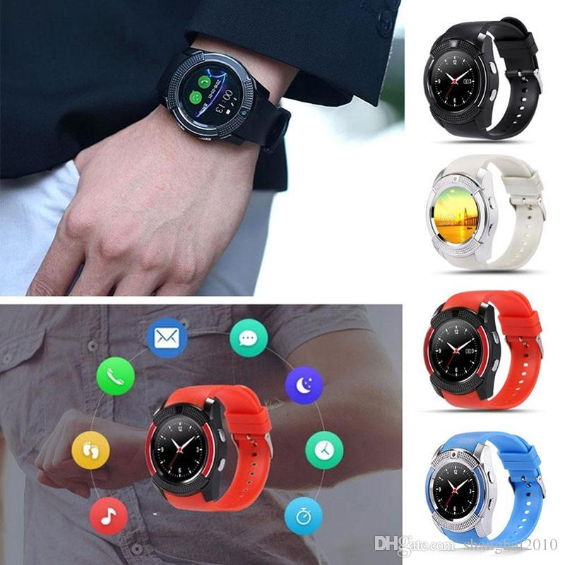 V8 Smartwatch Bluetooth Smart Watch With 0.3M Camera SIM And TF Card Watch For Android System S8 IOS Iphone Smartphone In Box