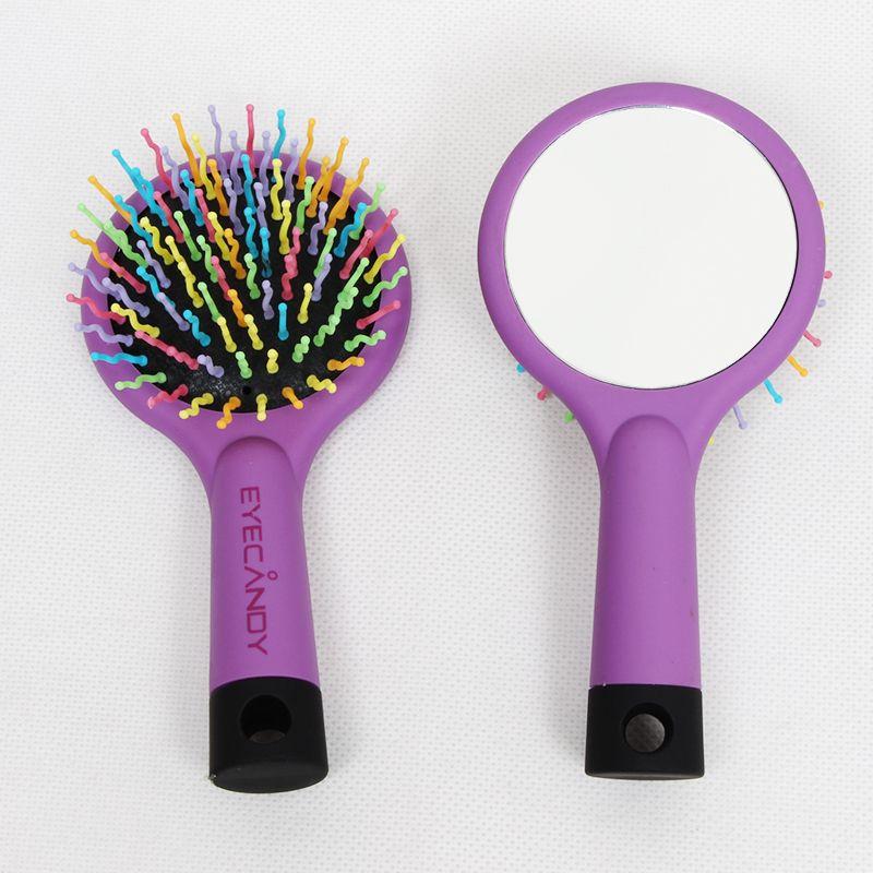 Envío gratis Magic Handle Tangle Hair Brush Peine Salon Styler Tamer Tool Con Maquillaje Espejo de plástico Combs Hair Brush Rainbow Brush