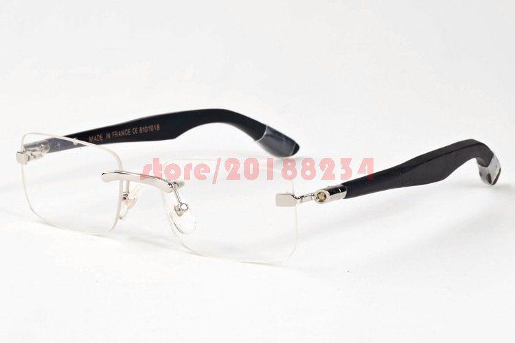 men women rimless big frames glasses brand designer buffalo wood sunglasses wooden frame clear lens lunettes de soleil de marque sun glasses eyewear from - Wood Frames Glasses