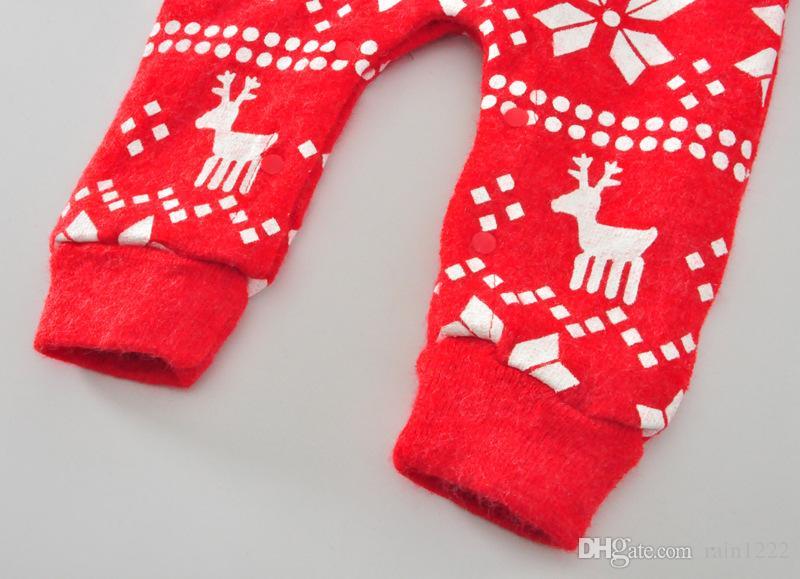 2017 Christmas Knittd Jumpsuits Babies Xmas Deer Thicken Warm Rompers Infants Toddlers Woollen Long Sleeve Jumpsuits Onesies Clothing