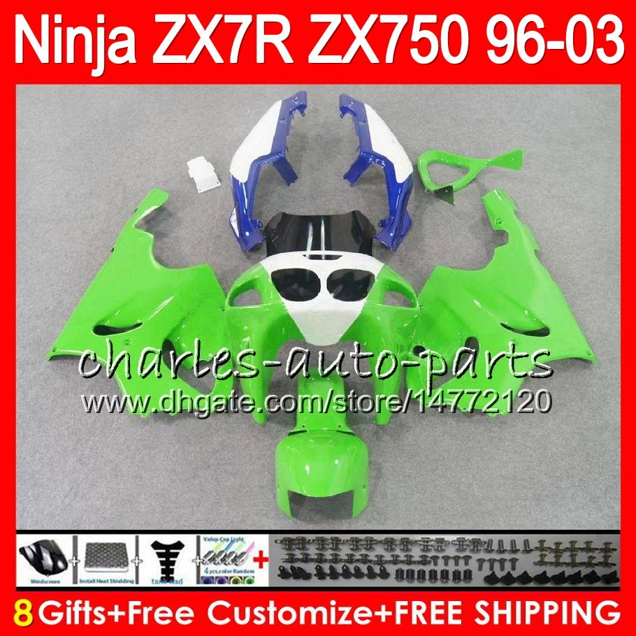 8Gifts 23Colors For KAWASAKI NINJA ZX7R 96 97 98 99 00 01 02 03 green white 18NO27 ZX750 ZX 7R ZX-7R 1996 1997 1998 2001 2002 2003 Fairing