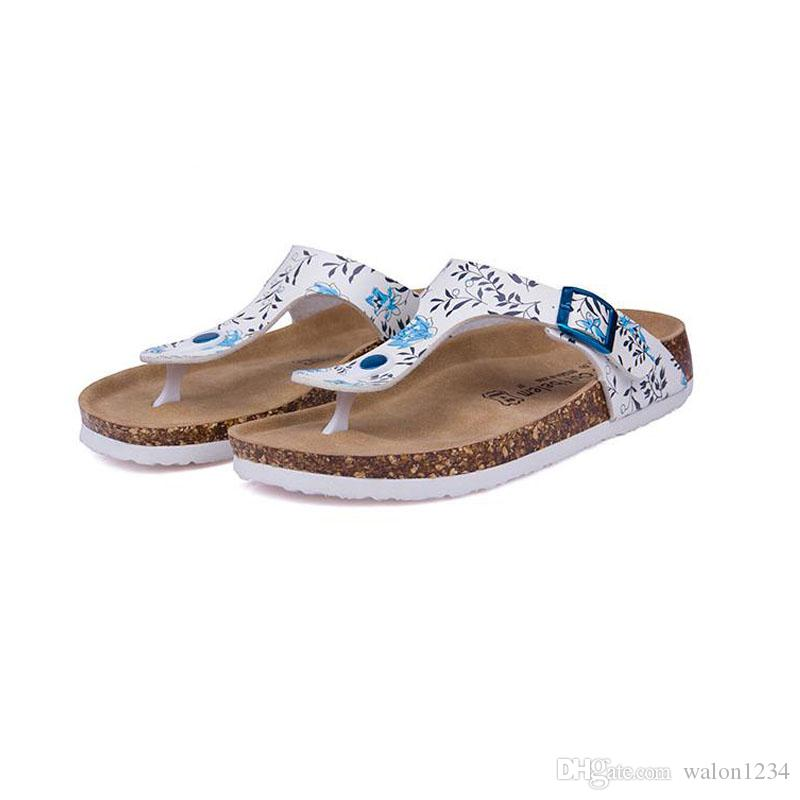 New Beach Cork Flip Flops Slipper 2017 Casual Summer Women Mixed Color Print Slip on Slides Sandals Flat Shoe