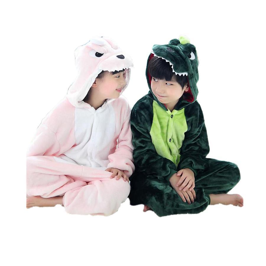 13854406e Cute Kids One Piece Pajamas Cartoon Dragon Dinosaur Thick Sleepwear ...