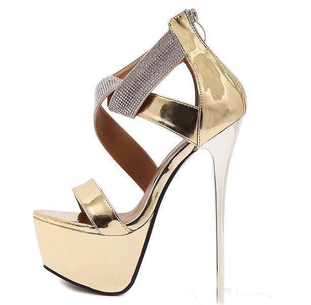 17 cm sıcak satış Lüks Altın Siyah Rhinestone Süper Yüksek Topuklar Platformu Sandalet Kadınlar Düğün Ayakkabı 2017 Boyutu 34 Içi ...
