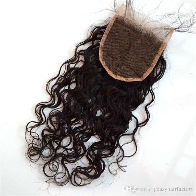 Wet And Wavy Lace Closure Unprocessed Human Hair Mongolian Water Wave Virgin Hair With Closure LaurieJ Hair