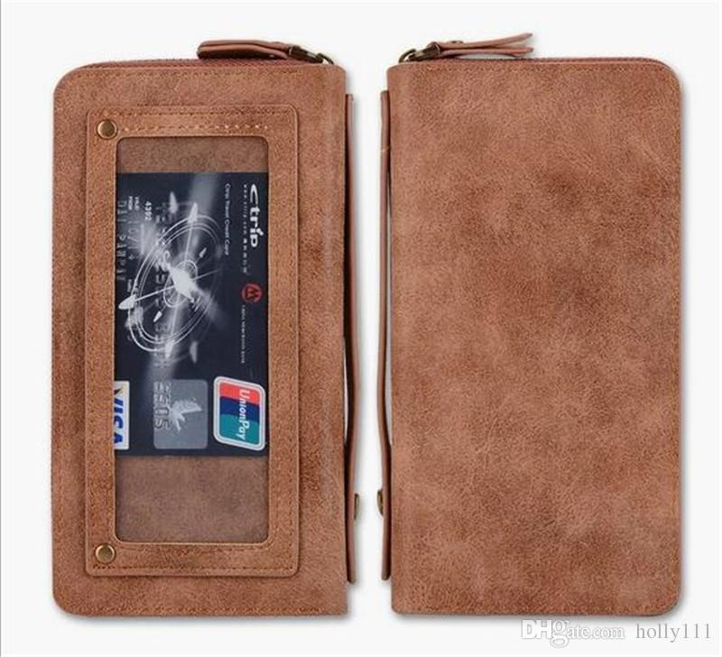Mobile Phone Bag Retro Pattern Double Zipper Multifunction Leather Wallet Holster For Samsung Galaxy S7 S7 Edge iphone 6/6plus 7/7plus