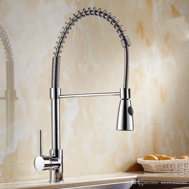Best Kitchen Faucet Luxury Sink Tap With Pull Out Spray Spring Fixed Swivel  Spout Single Handle Tap Push Button Pull Down Kitchen Faucets Under $112.57  ...