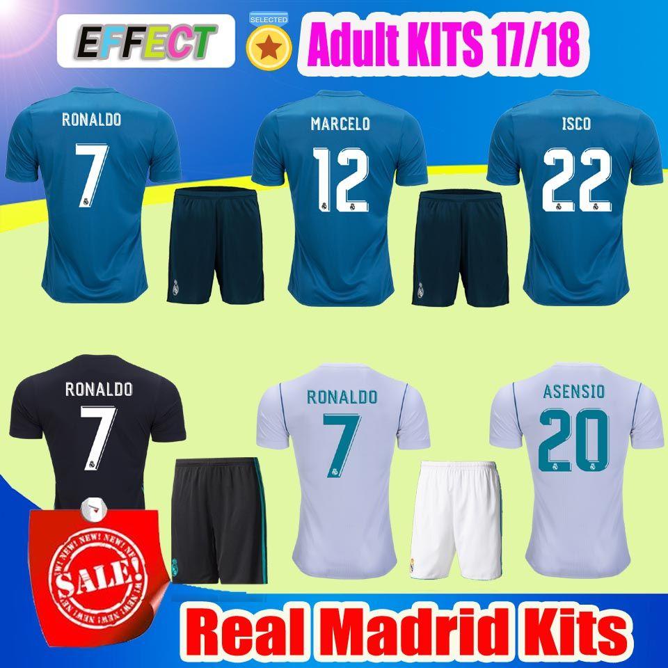 161d83455 ... White 2018 Real Madrid Home Third Soccer Jersey Adult KIT 17 18 Away  ISCO shirt Ronaldo Bale ...