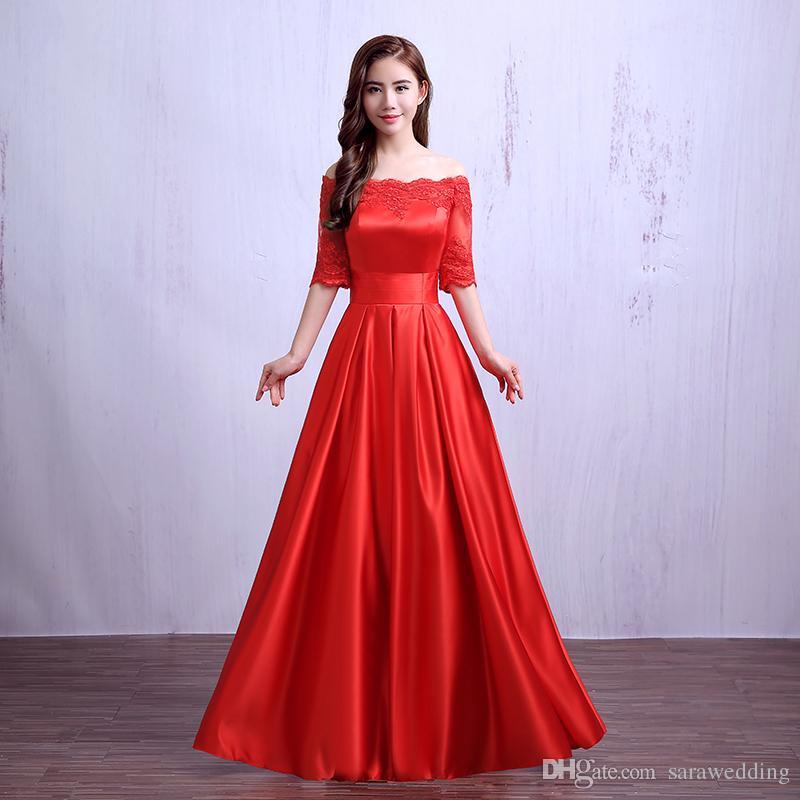 Yarım Kollu Uzun Saten Nedime Elbisesi Ile Dantel 2019 Zarif Lace Up Akşam Parti Abiye Bordo Kırmızı Renk