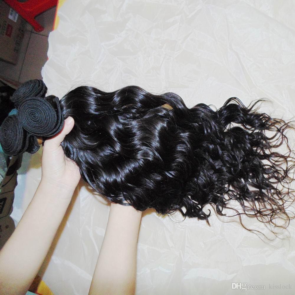 Ondas sin procesar del pelo humano indio ondulado natural crudo de la onda de la onda del pelo 300g / Warehouse rápido