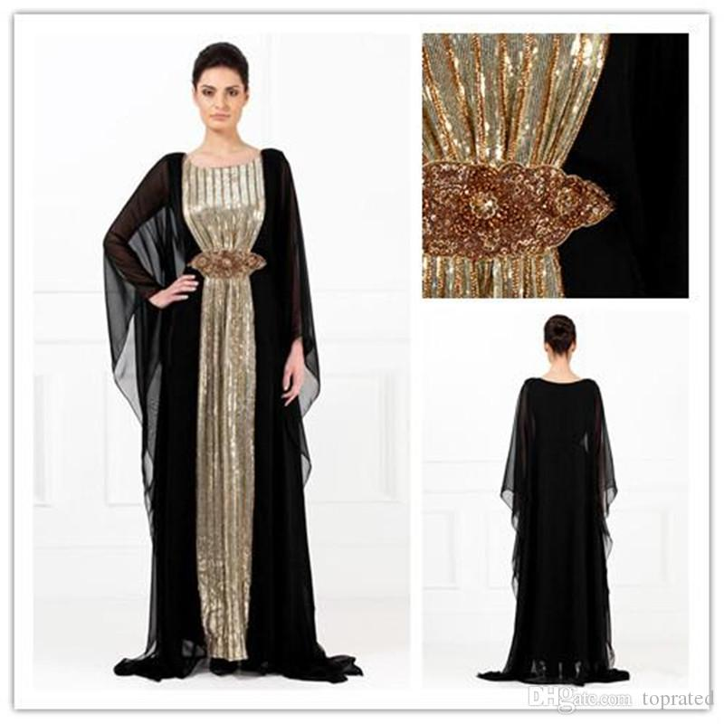 a4dc25cdb33a1 2017 Evening Gowns Black Chiffon Gold Sequins Abayas Arabic Dubai Muslim  Kaftan Dresses A Line Crystals Mother Of The Bride Evening Dresses Evening  Dress ...