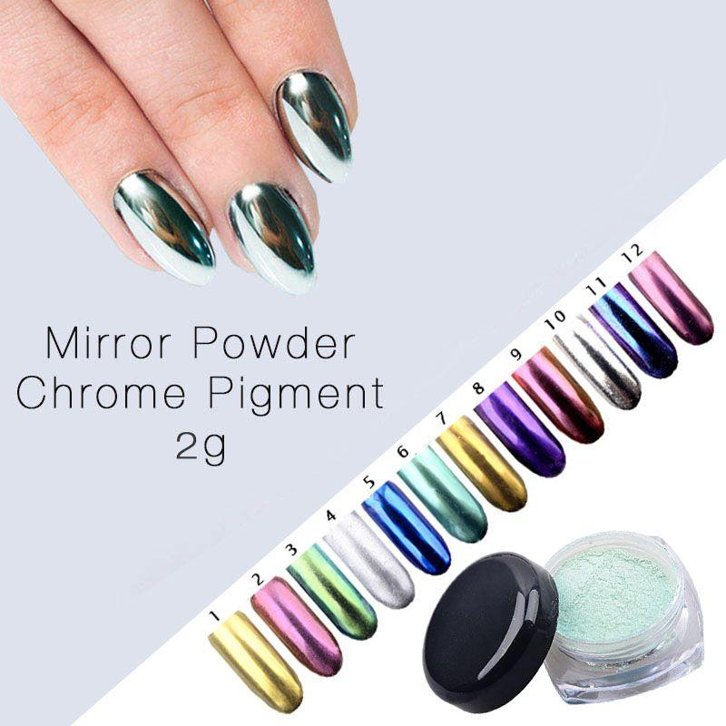 New 2g/Box Nail Art Shinning Mirror Nail Glitter Powder Dust Diy ...