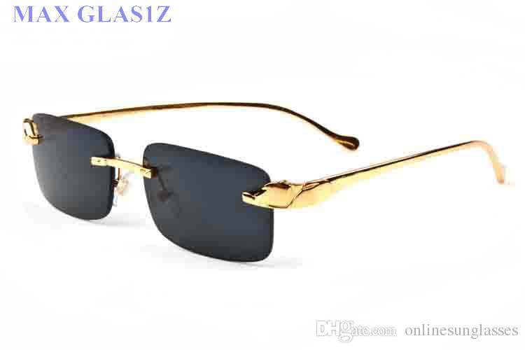 homens mulheres óculos de sol quadros retângulo de prata de ouro óculos nova chifre do esporte da forma de búfalo óculos lentes claras com casos de melhor qualidade