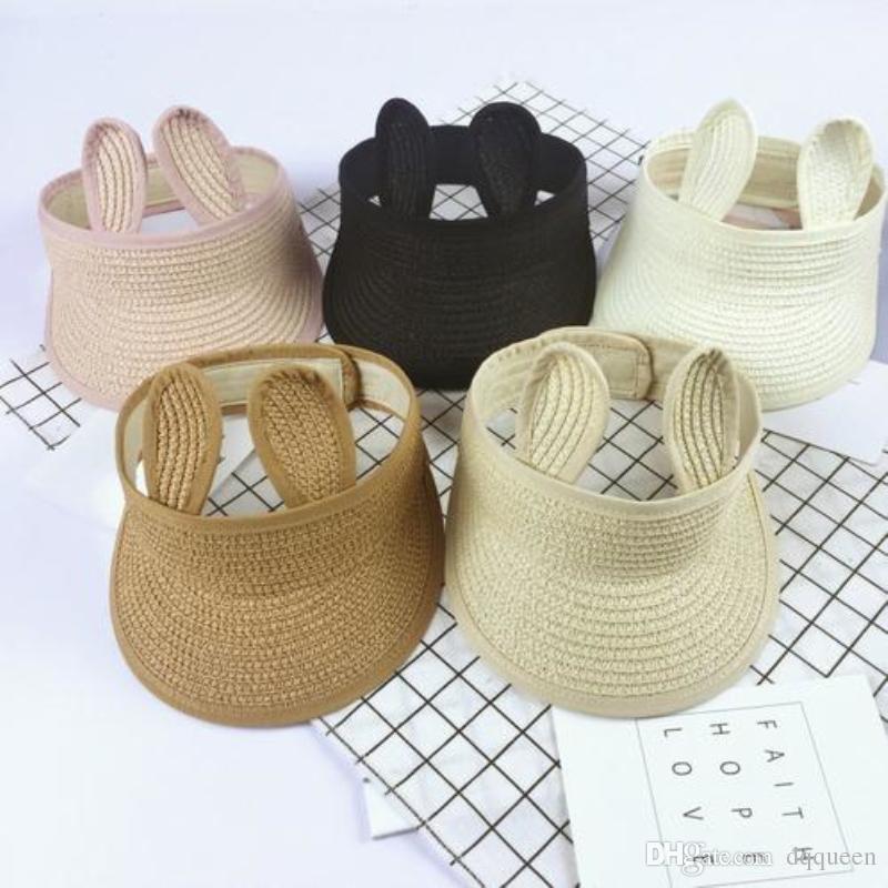 9f89bce95 Summer Children Straw Hat New Cartoon Rabbit Long - Ear Empty Top Hat Sun  Hat Child Girl Boy Sun Visor Cap