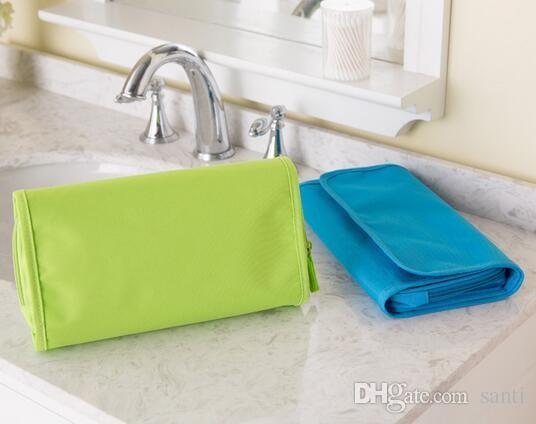es salud belleza verde rosa azul colgante organizador bolsa plegable maquillaje cosmético caso de almacenamiento de viaje bolsas de aseo