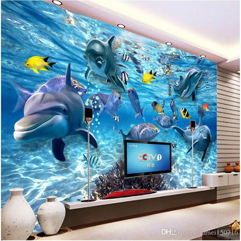 Custom photo wallpaper 3D stereo underwater world of marine fish living children's room TV background 3d mural wall paper