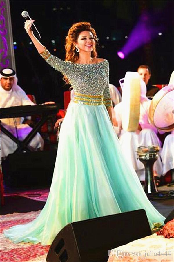 Hortelã Verde Sparkly Cristal Evening Vestidos Formais Com 3/4 de Manga Longa Oriente Médio Dubai Árabe Alegant Major Frisada Ocasião Prom Vestidos