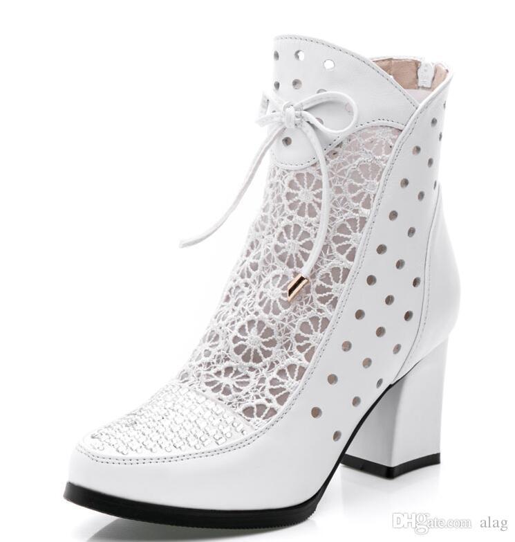 New Fashion High Quality Women Stivali Stivaletti in vera pelle Stivali estivi in pizzo Zapatos Chaussures Femme Scarpe tacco alto donna Square