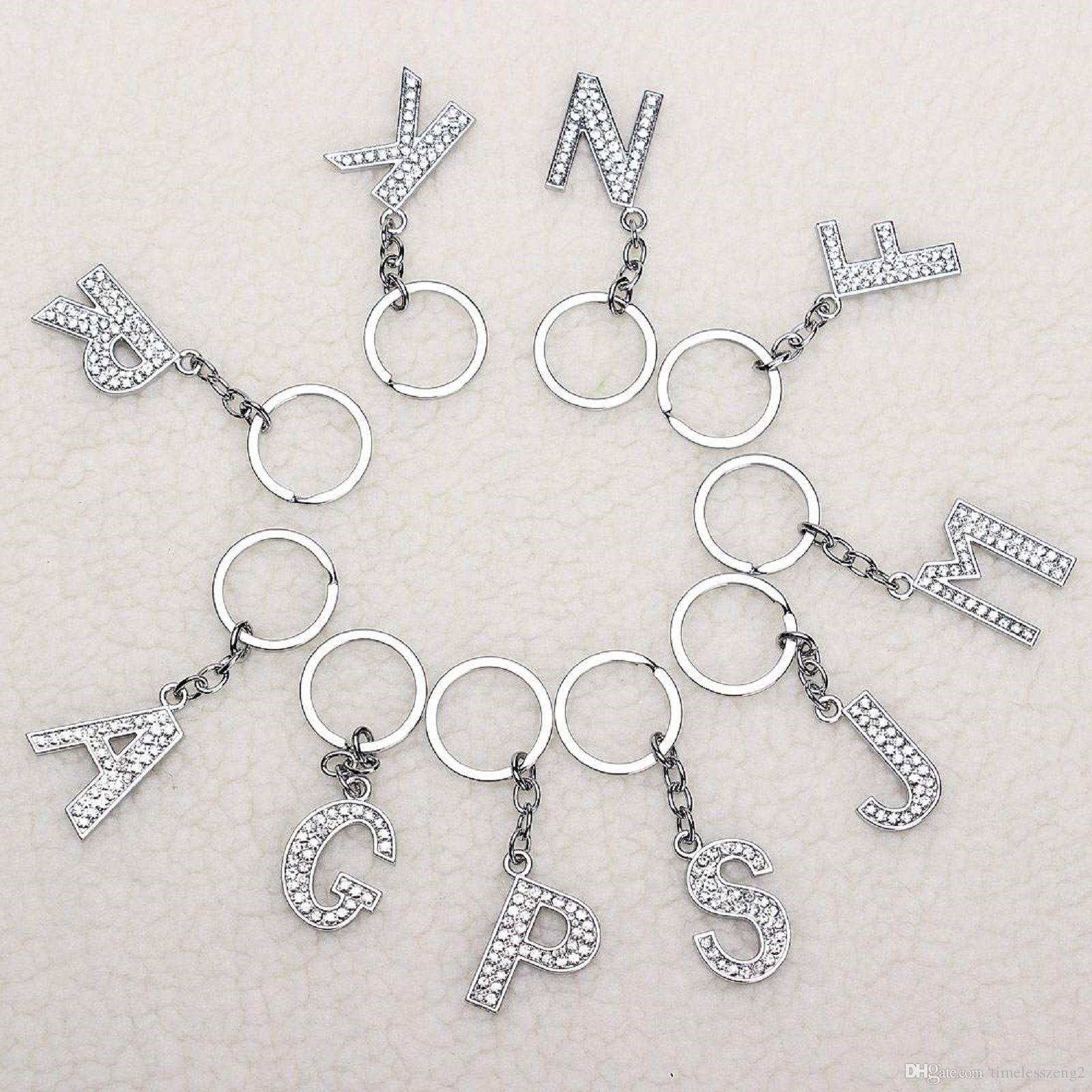패션 새로운 크리스탈 라인 석 알파벳 키 링 금속 초기 문자 열쇠 고리 유니섹스 키 체인 26 글자